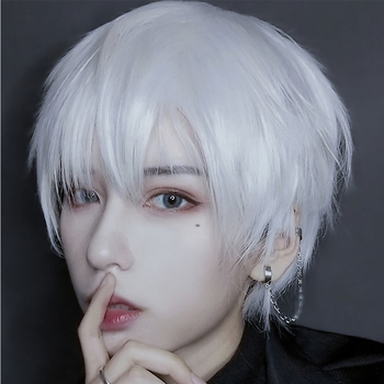 MEIFAN Cosplay Short Straight Anime Wigs Synthetic Natural Hair Wigs For Man/Women Halloween Blue Pink Purple Wig