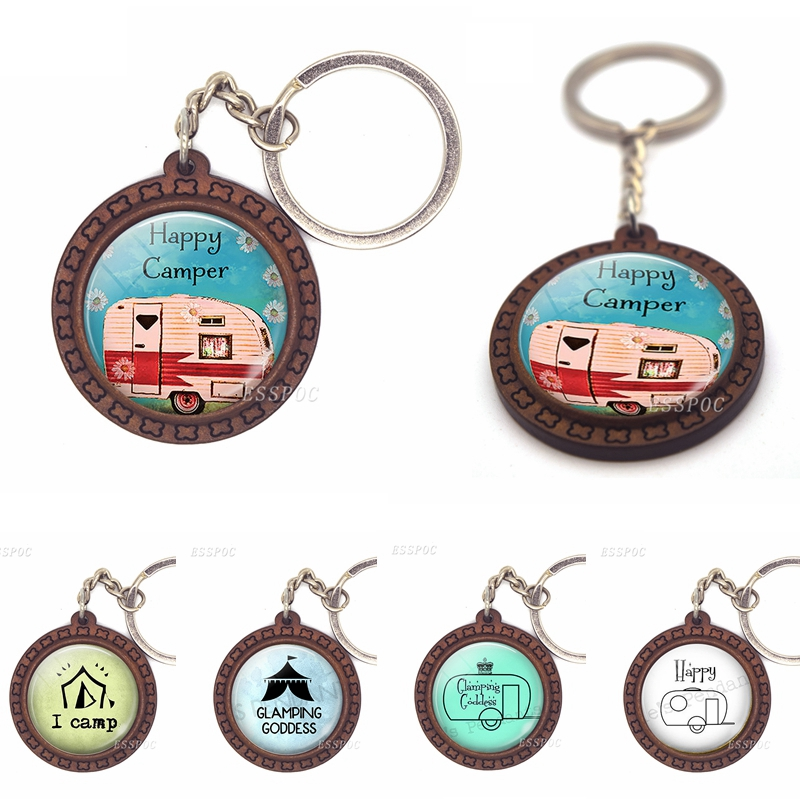 Cute Travel Car Wooden Keychain Glass Cabochon Jewelry Glamping Goddess Pendant I Camp Key Ring Women Traveler Gift