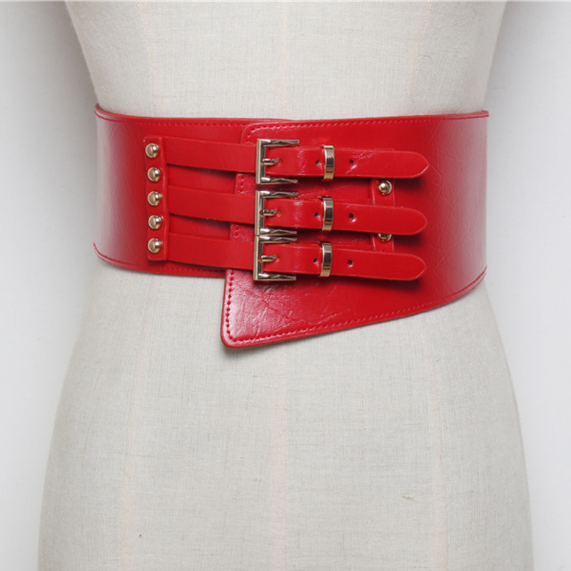 LANMREM 2020 Korean Version Of The Wild Three-row Pin Buckle Elastic Waistband With Shirt Wide Belt Female PC230
