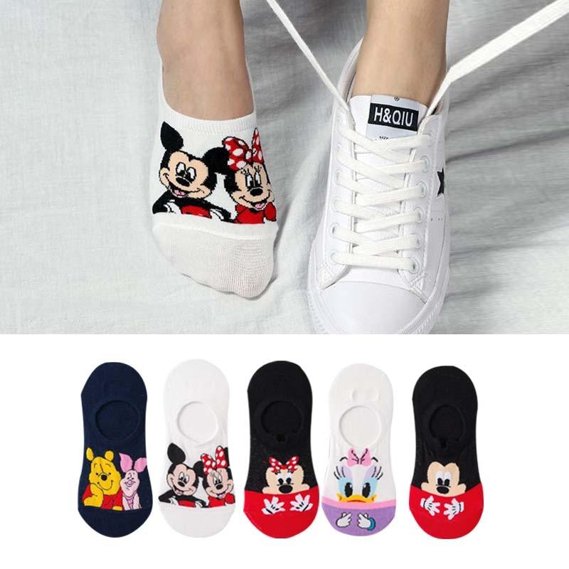 2,49€ 5 par/lote de calcetines de Corea de verano para mujeres de dibujos animados gato zorro ratón calcetines de lindos animales divertidos calcetines de tobillo de algodón calcetines invisibles