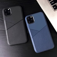 цена на Soft Silicone+PU Leather Case for IPhone 11 Pro Case Business Stitching Pattern Back Cover for IPhone 6 6S 7 8 Plus X XS Max XR