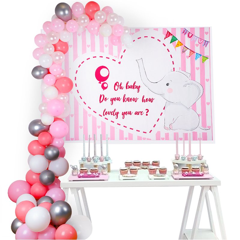 Pink Baby Shower Girl Decorations Silvery/Pink Balloon Arch Elephant Fabric Background Photography