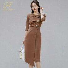 H Hàn Nữ Hoàng Phong Cách Hàn Quốc Cổ Chữ O 3/4 Tay Không Đều Bodycon Đầm Nữ Thu đông 2019 ĐẦM VINTAGE OL Mỏng Mặc Công Sở vestidos