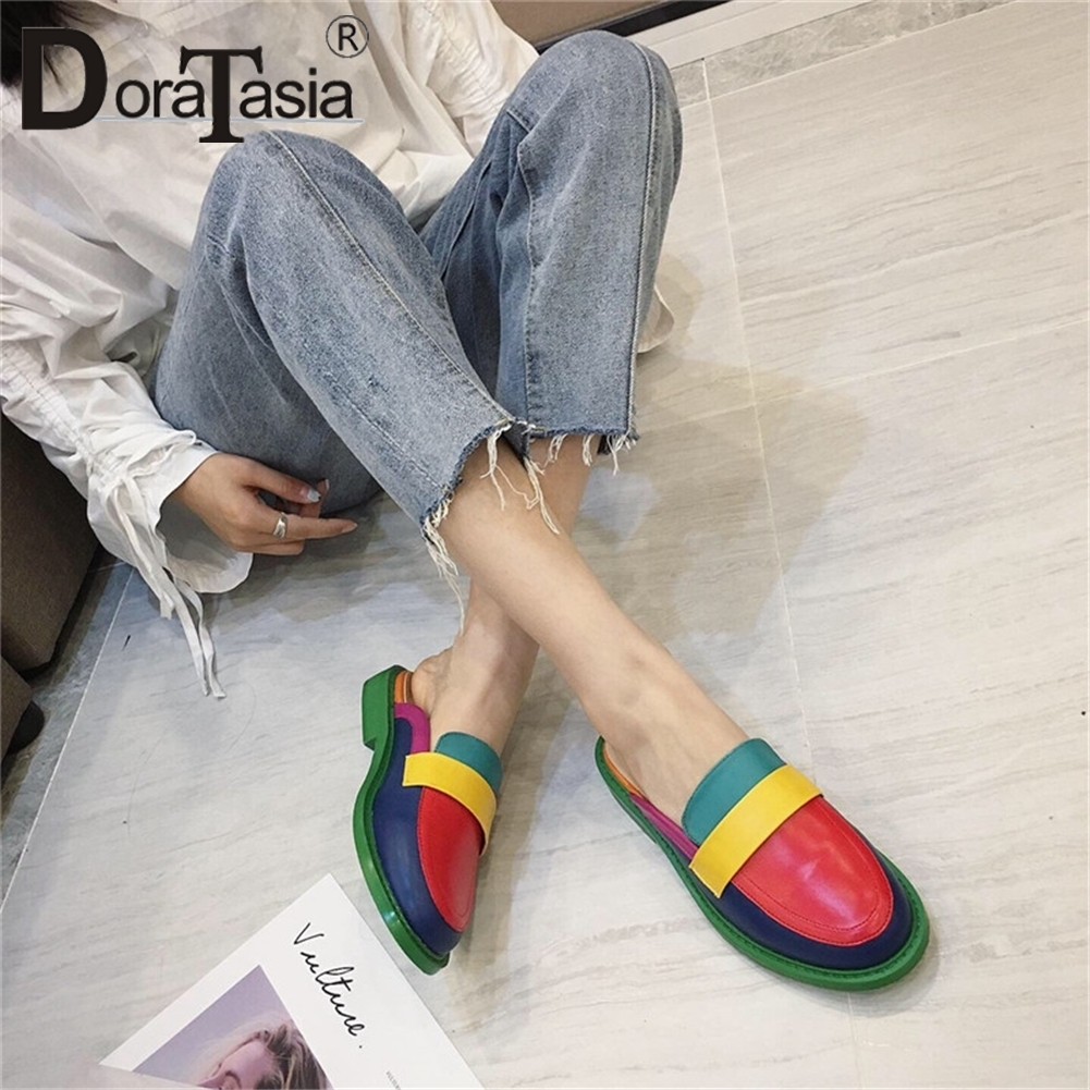 DORATASIA 2019 New Fashion Brand Colorful Mules Ladies Leisure Shoes Woman Casual Party Hot Sale Slippers Women Shoes Female