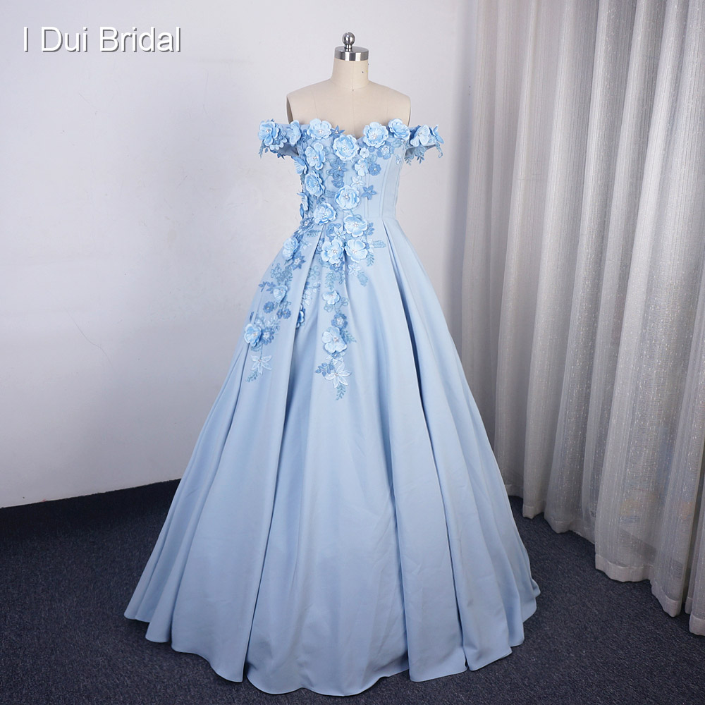 Sky Blue Off Shoulder Floral Prom Dress Dancing Dress With Lace Up Back 3D Flower Lace Factory Custom Made