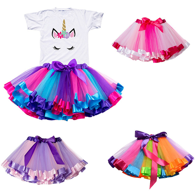 Children Clothing Sets for Baby Girls Summer 2019 New Fashion Unicorn Tops Kid Clothes Girl Tees Princess Birthday Sets Clothes 1
