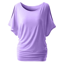 Muyogrt Women T-Shirt Summer Sexy  Shoulder Casual Loose Short Bat Sleeve Female Tee Shirt Wild Plus Size Women Clothing
