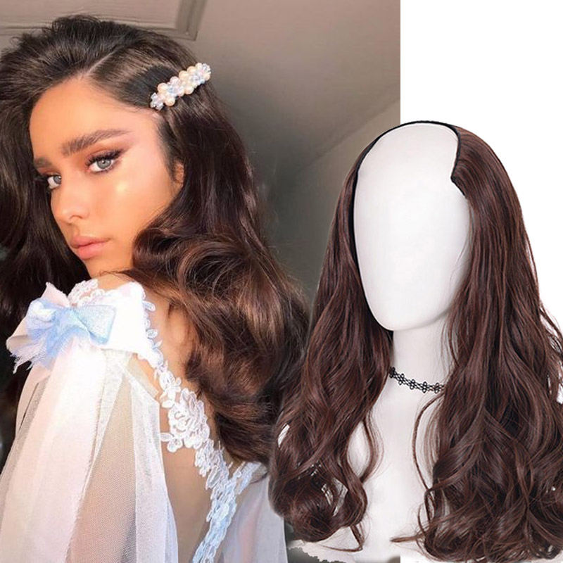 AOSI Fake Hair Extensions Clip Hairpiece Natural Hair Wavy Extension False Strands Black Brown Synthetic Hair On Hairpins Women