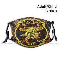 Navy Seal Team 3 Impressão Design Personalizado Para Adultos Criança Anti Máscara de Poeira do Filtro Lavável Vedação da Máscara Facial Máscara Equipe 3 seal Team Marinho Três