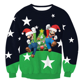 Feliz Navidad Super sudadera Mario de los hombres de la moda ropa de 3D imprimir juego clásico Harajuku de las mujeres de los hombres ropa deportiva Tops