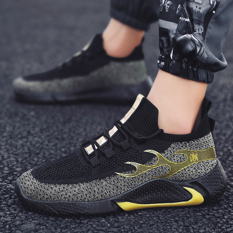 2020Flying woven shoes mesh shoes sports shoes tide shoes men's shoes breathable men's casual shoes outdoor jogging shoes sports
