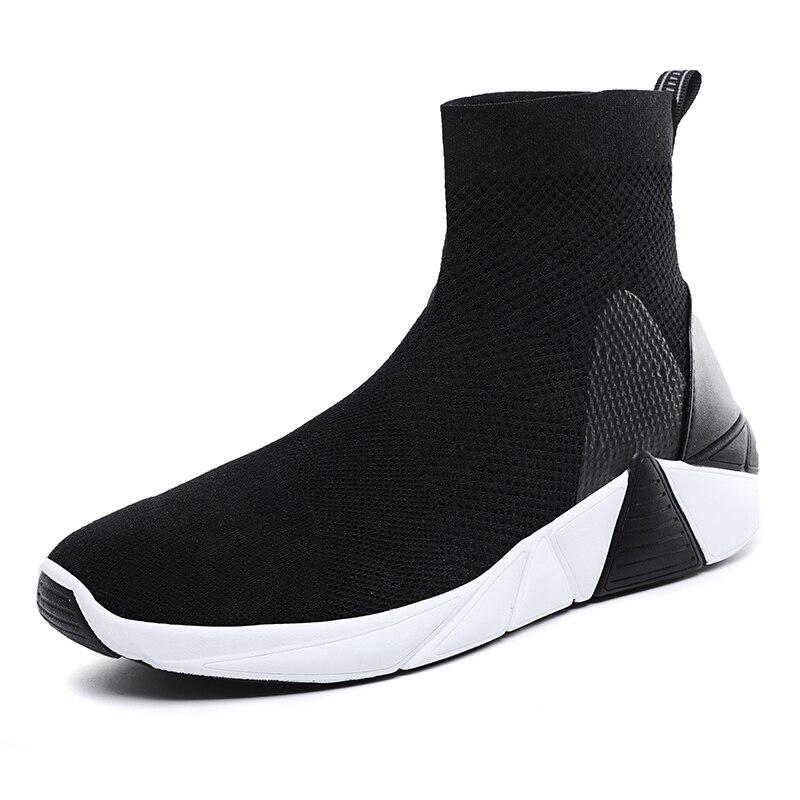2019 New High Top Men Sport Running Shoes Light Outdoor Women Sock Sneaker Walking Black Green Female Trainer Big Size