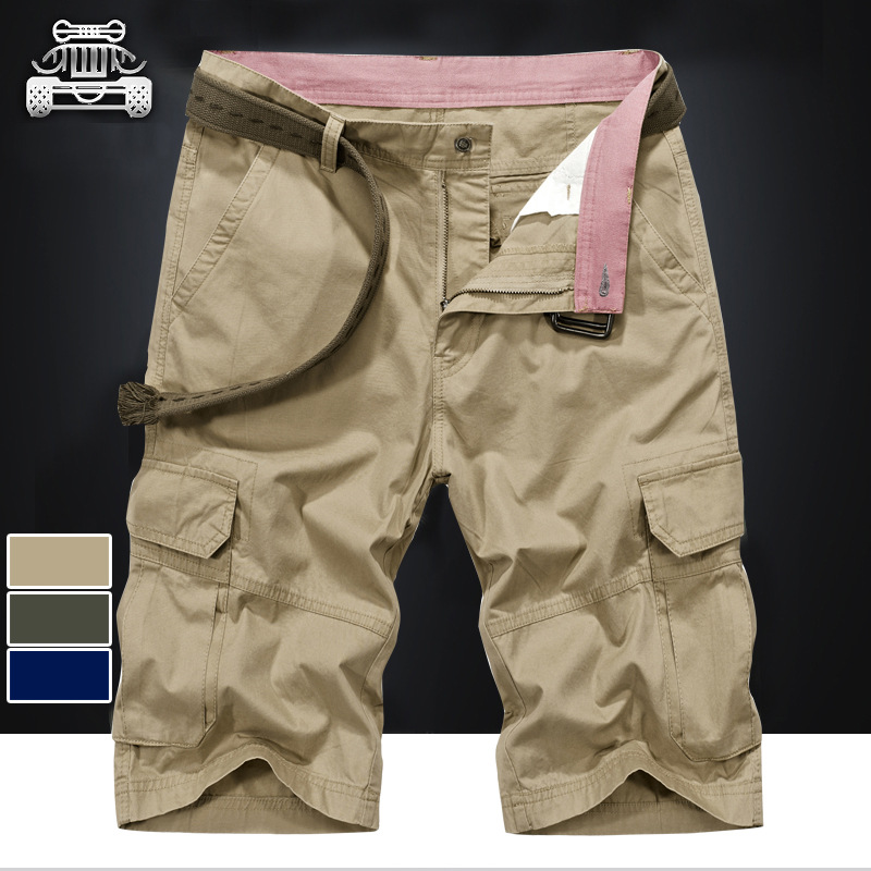 30-44 Large Size Summer Pure Cotton Shorts MEN'S Overalls Loose-Fit Shorts Casual Multi-pockets 6 Points Shorts 5506
