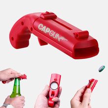 Portable casquette pistolet barre outil créatif volant lanceur bouteille bière ouvre boisson ouverture en forme de couvercles tireur rouge gris