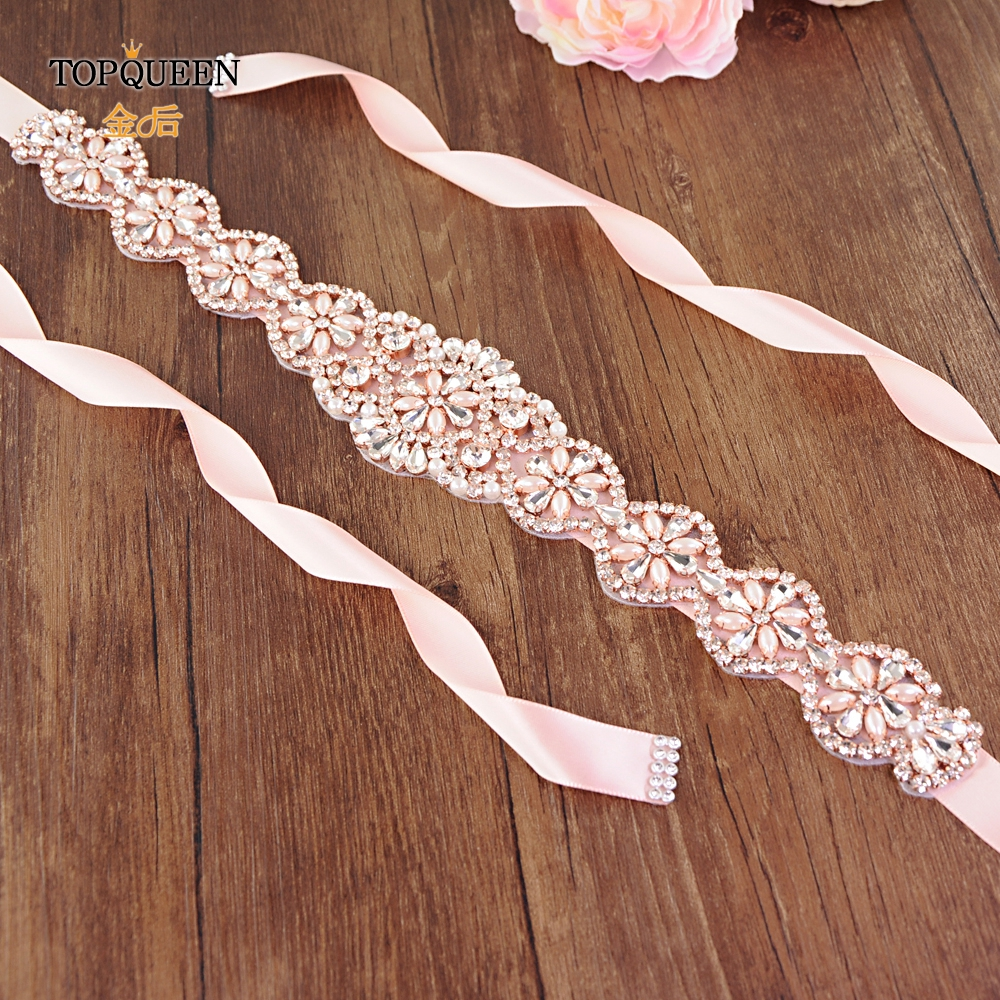 TOPQUEEN S161-RG Rose Gold Rhinestone Belt Crystal Wedding Belt Pearl Bridal Belt For Wedding Accessory Belt Wedding Party Belt