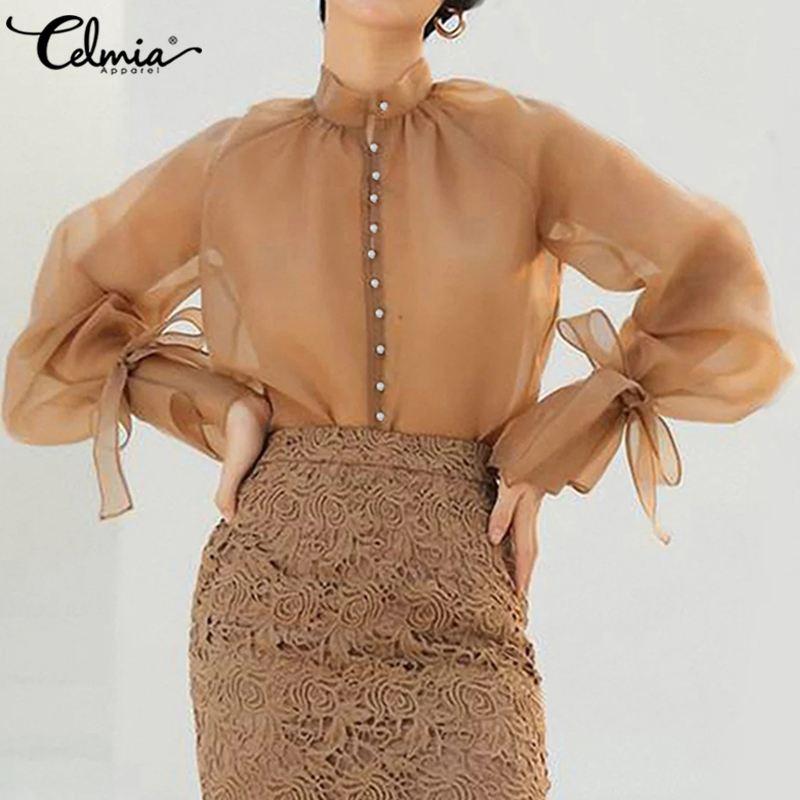 Стильные топы для женщин, сексуальная прозрачная блузка с прозрачной сеточкой, элегантные Клубные рубашки с длинным рукавом фонариком, повседневные блузы, Mujer, 7|Блузки и рубашки|   | АлиЭкспресс