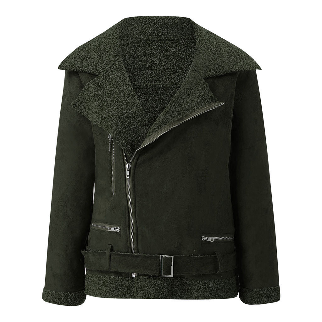 Women   Jacket   2019 Turn-down Collar Zipper Suede Bomber   Jacket   Spring Autumn Fashion Classic Moto Biker   Basic     Jacket   Coat#G30