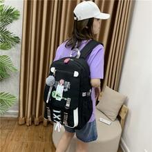 green School Bags for Girls Women Bag for School Backpack USB Teenage Nylon Solid Teen Schoolbag Girl Black Large Capacity New