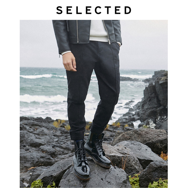 Отборные мужские легкие Стрейчевые джинсовые брюки, новые Стрейчевые черные джинсы с завязками на лодыжках LAB