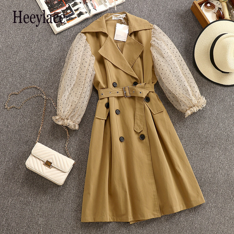 High Quality 2019 New   Trench   Coat For Women Spring And Autumn Mesh Stitching Sleeve Double-breasted   Trench   Coat Long Dress