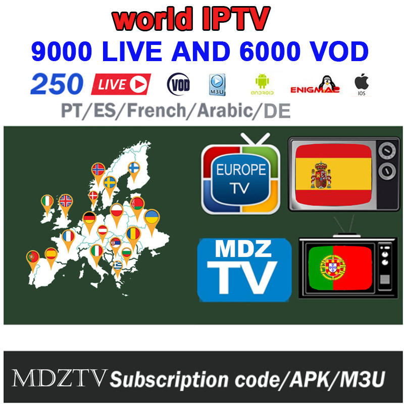 Subscribe To 1/3/6 Month World M3U Android IPTV 9000+live 3000+VOD For Europe UK Spain Portugal France Enigma2 Smart TV VLC IPTV