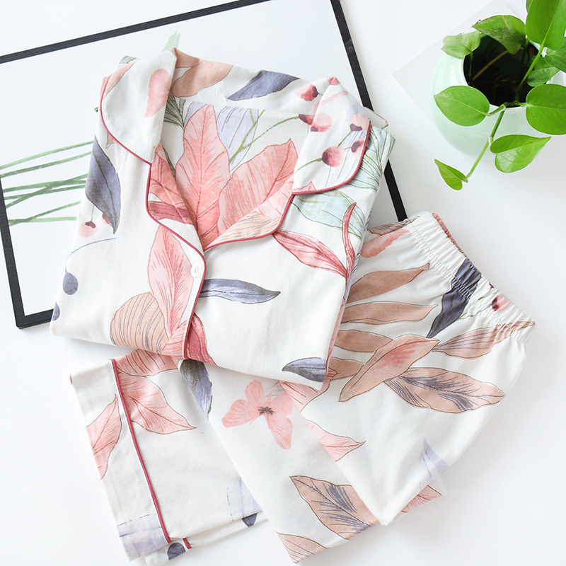 Image 2 - Women Long Sleeve Nightwear Autumn 100% Cotton Knitted Pajama Set Turn down Collar Leaves Printing Pajamas Loungewear SleepwearPajama Sets   -