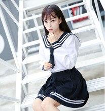 2 PCS High end JK Uniforme Para As Meninas Japonês Coréia Topos + Saia + Gravata Estudante Desgaste Da Escola Uniforme marinheiro Terno Branco Preto C30153AD