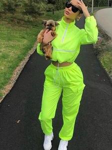 Liooil Women Outfits Tracksuit Suit-Sets Joggers Sweatpants Crop-Top Two-Piece-Set Long-Sleeve