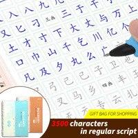2 책/세트 3500 일반적인 중국어 문자 일반 스크립트 서예 3D 재사용 가능한 그루브 카피 북 초보자를위한 쓰기