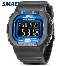 SMAEL LED cyfrowy zegarek mężczyźni sport zegarki 50M wodoodporny wojskowy kamuflaż wojskowy Wrist Watch dla mężczyzn zegar Relogios Masculino tanie tanio Z tworzywa sztucznego CN (pochodzenie) 23cm 5Bar Klamra Plac 22mm 17 5mm Akrylowe Stoper Podświetlenie Odporny na wstrząsy