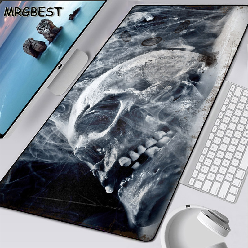 MRGBEST 900x400mm L Discount Large Mouse Pad Black Locking Edge HD Skull Pattern Rubber Frame Non-slip Bottom Game Speed Version