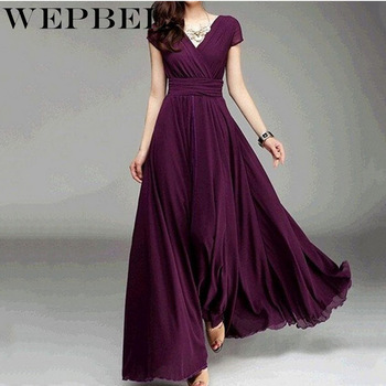 WEPBEL Women Dress Party Evening Gown Female High Waist Elegant Chiffon Maxi Long Dresses Plus Size S-5XL evening gown dress fur mermaid party long dresses women elegant plus size 5xl v neck bodycon knitted ladies maxi formal dress