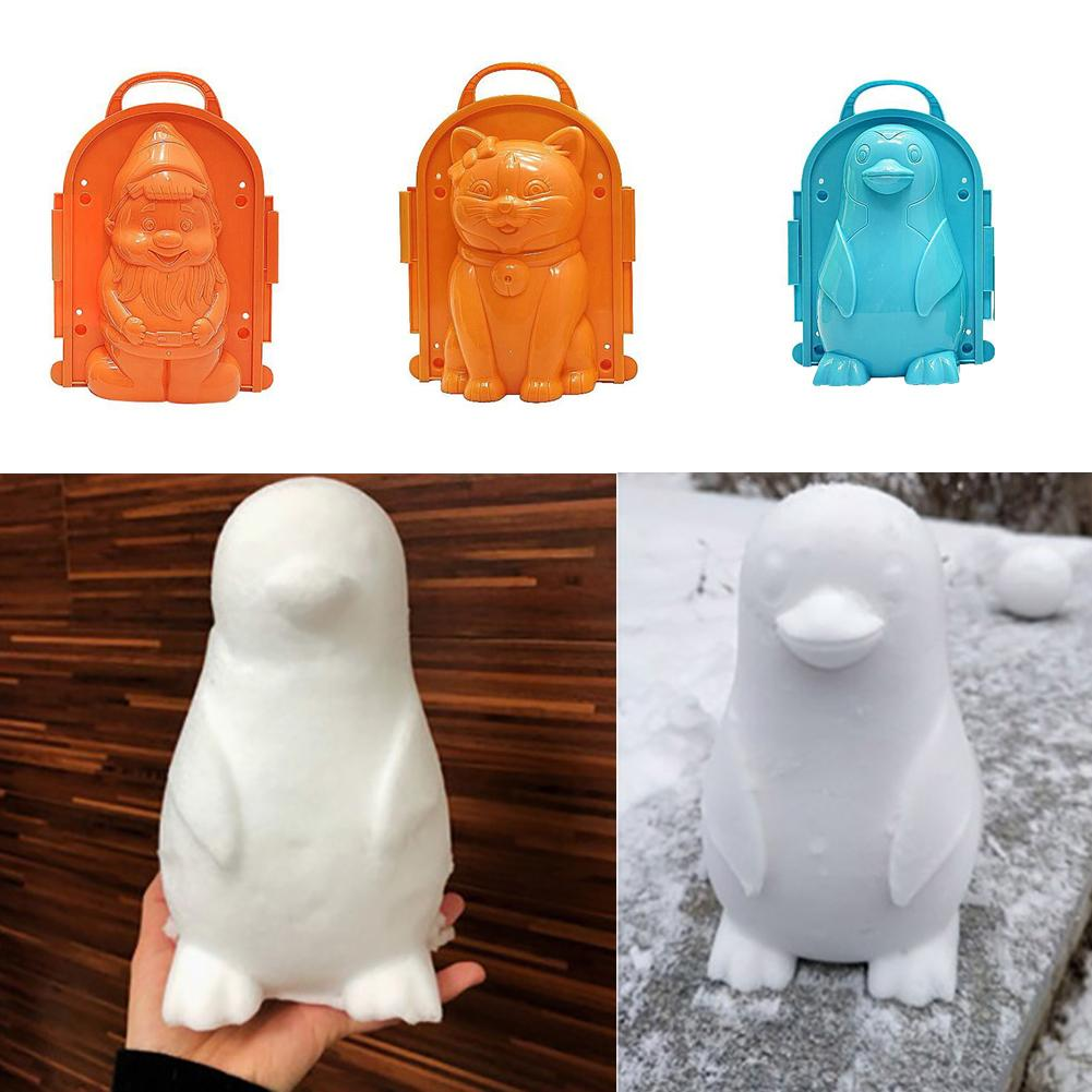Cats Bear Penguin Santa Claus Shaped Winter Snow Mold Snowball Maker Clip Children Kids Outdoor Sand Mold Tool Creative Toy