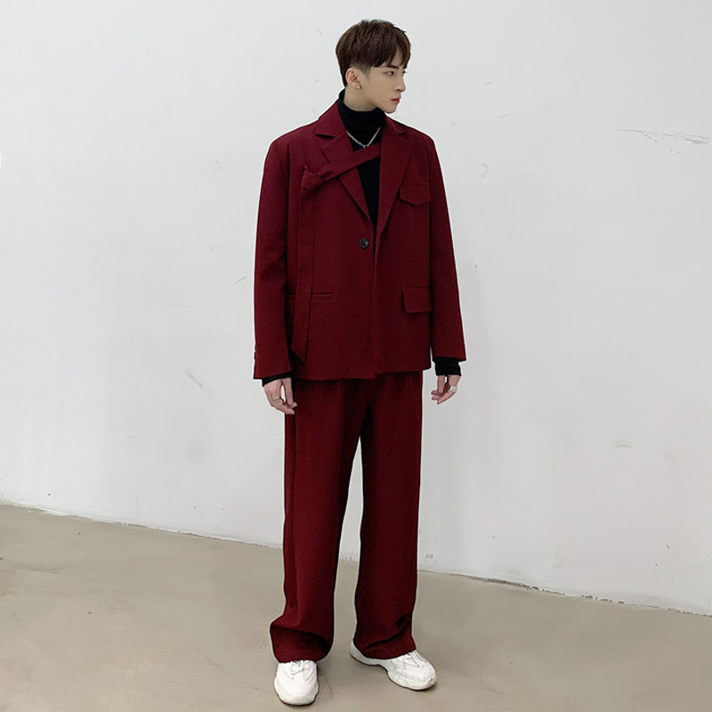 Men 2PCS Suit Set Jacket+pants Male Vintage Red Streetwear Hip Hop Casual Ribbon Blazer Coat Straight Trouser Stage Show Clothes