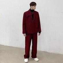 Coat Suit-Set Stage Pants Blazer Jacket Streetwear Male Casual Red 2PCS Ribbon Straight-Trouser