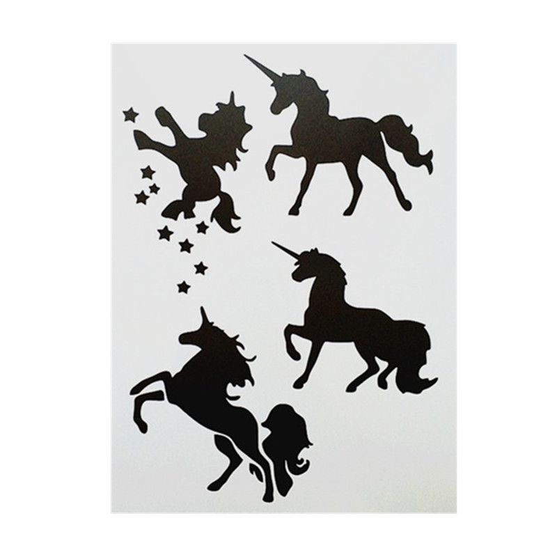 DIY Painting A4 Size Unicorn Design Reusable Stencil Templates For Wall Furniture Fabric Painting Decor Emboss Paper Cards