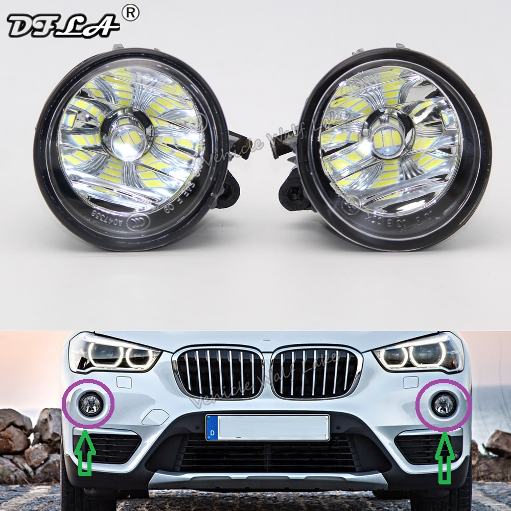 2pcs Left & Right Led Fog Lamp For BMW X1 F48 2016 2017 2018 Front LED Fog Light Fog Lamp With Gifts And Bulbs