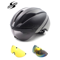 Fietshelm Road Mtb Integraal Triathlon Time-Trial Bike Helm Mannen Speed Race Helm Zonneklep 3 Lens Aero bril Apparatuur