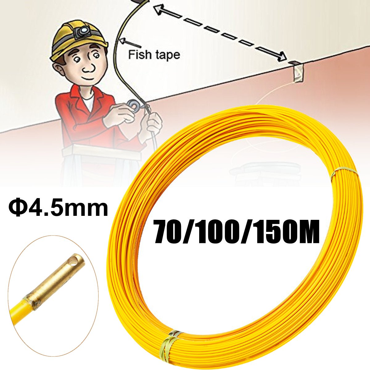 New 70M/100M/150M 4.5mm Fiberglass Cable Puller Fish Tape Reel Conduit Ducting Rodder Pulling Wall Wire Conduit Wiring Guide Too