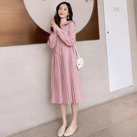 Korean fashionable long dress, soft pleated clothes for pregnant women, fall pregnancy wear