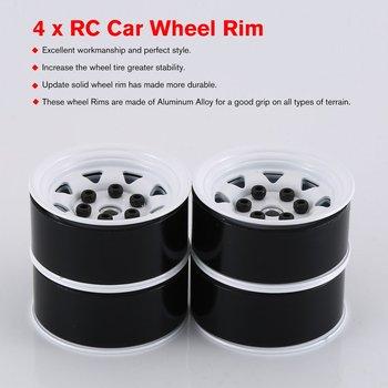 4 STUKS Metalen Velg Beadlock Wiel Hub 1.55 Inch RC Auto Aluminium Zwart Velg voor 1/10 RC crawler Auto Model Speelgoed-in Onderdelen & accessoires van Speelgoed & Hobbies op
