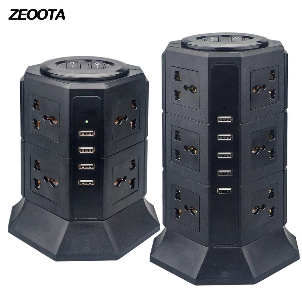 Sockets Extension-Cord Outlet Usb-Charger Usb-Power-Strip Surge-Protector Vertical Universal