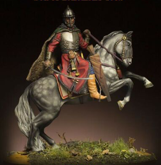 1/24 75MM  Ancient Warrior With Horse (WITH BASE ) Resin Figure Model Kits Miniature Gk Unassembly Unpainted