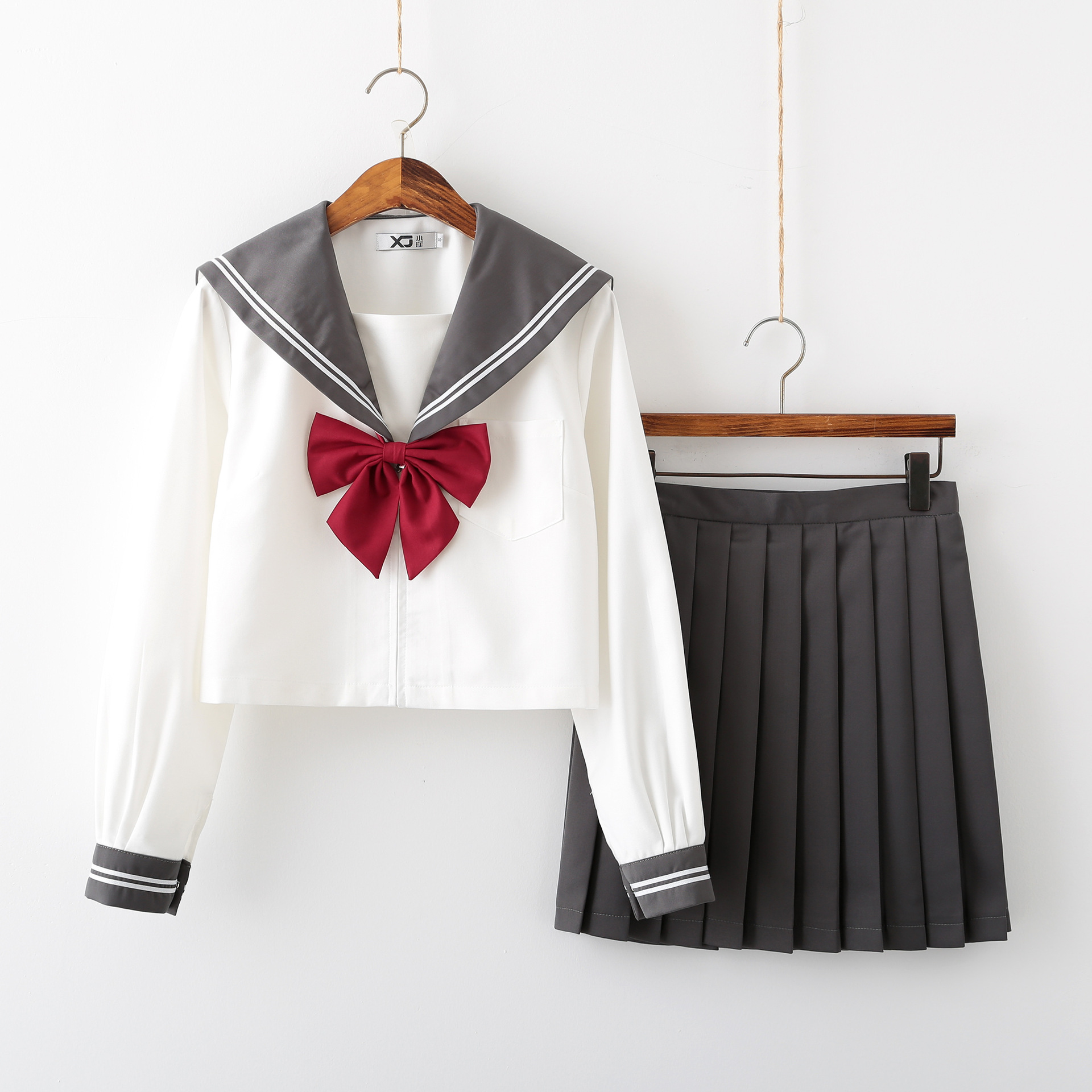 Gray Collar Long Sleeve JK School Uniform Set For Girls White Shirt And Pleated Skirt Suits Student Cosplay