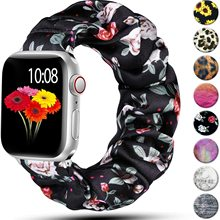 Scrunchie Strap for Apple watch band 40mm 44mm 42mm 38mm 42 mm Elastic Nylon Solo Loop