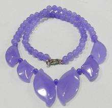 "Hot sale Lilac Alexandrite Loose Beads Leaf-shaped Necklace 18""(China)"