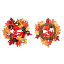 Colorful Fall Simulation Maple Leaf Pumpkin Door Decoration Flower Wreath Home Halloween