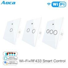 WiFi Smart Glass Panel Switch Tuya App Remote Control  Work With Alexa Echo Google Home RF433 EU Type White Touch 1/2/3 Gang