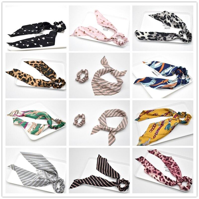 Fashion Ponytail Scarf Elastic Hair Rope For Women Hair Bow Ties Scrunchies Hair Bands Flower Print Ribbon Hairbands