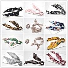 Модный конский хвостик шарф; резинка для волос, обтянутая тканью; веревка для Для женщин волос галстук-бабочка резинки для волос Цветочный принт лента, украшение для волос